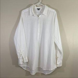 Eddie Bauer Mens Linen Blend Button White Shirt XL